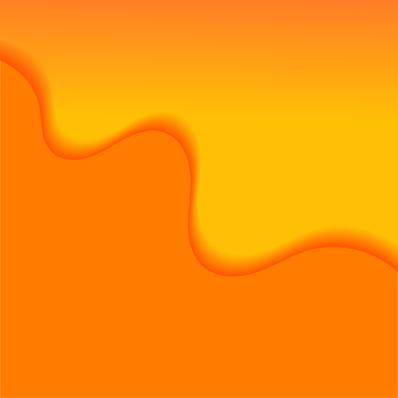 Abstract background with orange waves. Colorful banner with paper cut waves