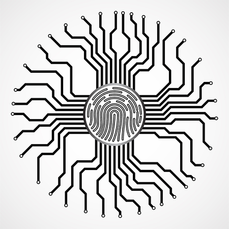 Abstract sign fingerprint with circuit board by circumference. Technology concept