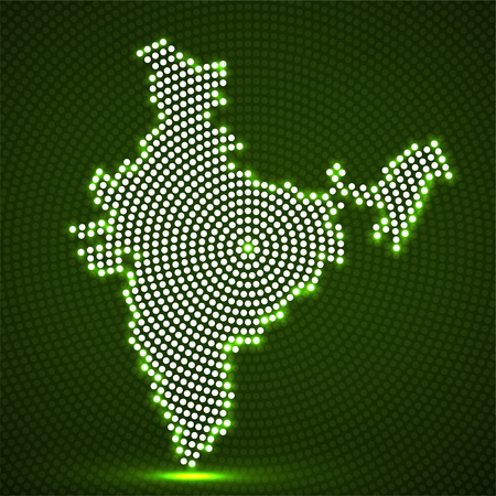 Abstract India map of glowing radial dots