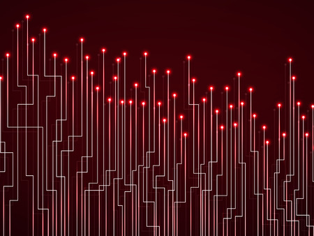 Abstract background of glowing lines and dots. Technology neon geometric graphic