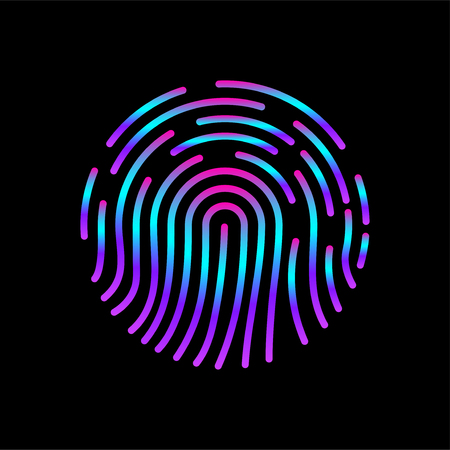 Fingerprint icon, biometric identification symbol, id Vectores