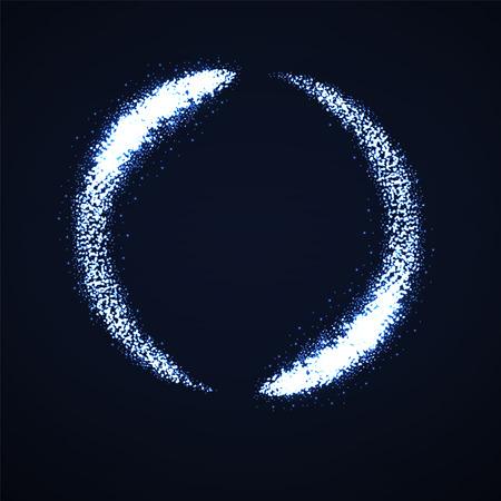 Polvere di lucentezza astratta, cerchio luminoso con particelle di luci