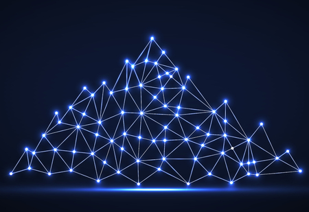 Abstract mountain of glowing lines and dots. Polygonal mountain