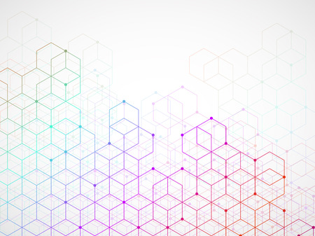 Abstract colorful geometric background with cubes. Geometrical concept with lines and points
