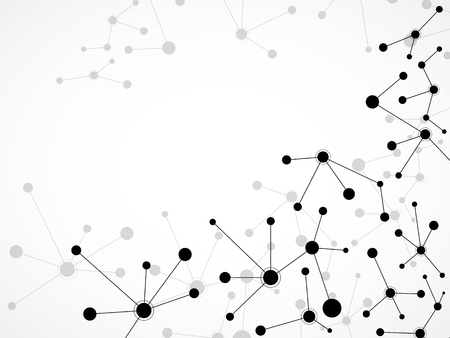 Abstract molecule background, connected structure. Dna, atom, neurons