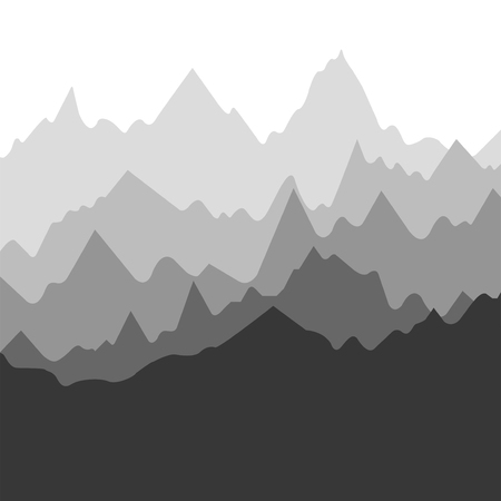 Vector landscape with silhouettes of mountains, nature background Иллюстрация