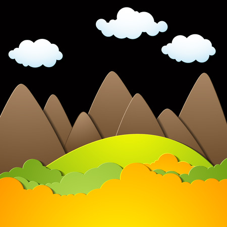 Landscape with silhouettes of mountains, mountain background, colorful illustration Ilustrace