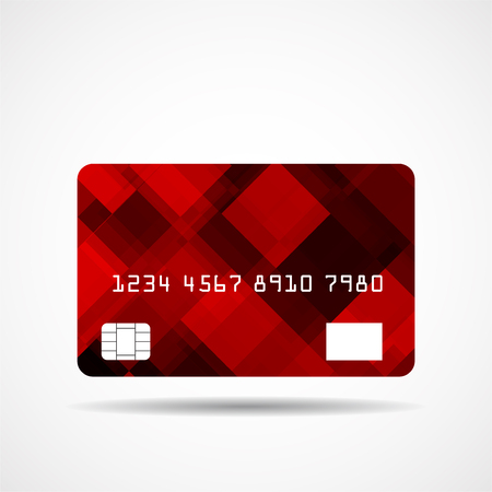 Credit card icon with abstract geometric design isolated on white background Ilustrace