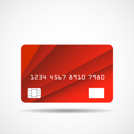 Credit card icon with overlap red lines isolated on white background