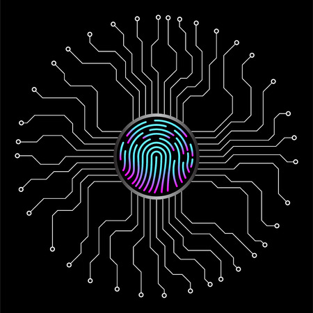 Abstract sign fingerprint with circuit board by circumference. Technology concept. Vector