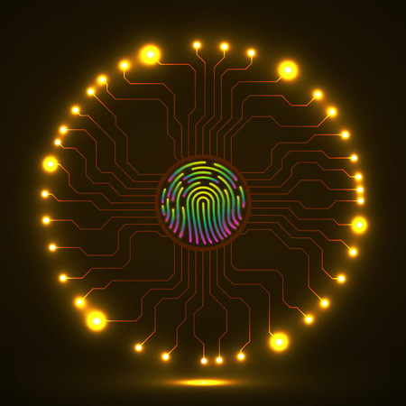 Abstract neon sign fingerprint with circuit board by circumference. Technology concept. Vector