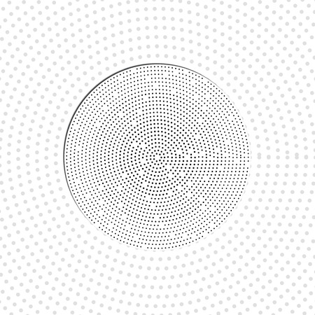 Vector paper circle sticker with circles. Dotted background