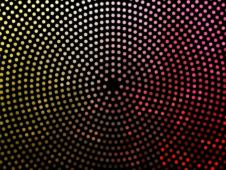 Abstract colorful dotted background. Halftone radial pattern. Vector