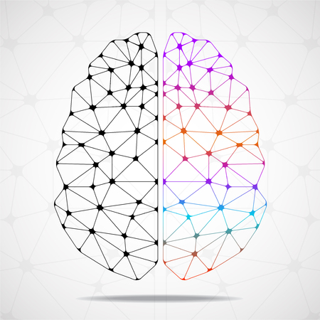 Abstract geometric brain of left and right hemisphere, network connections Ilustração