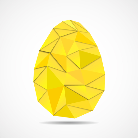 Abstract Easter egg of triangles with shadows. Vector geometric polygonal shapes