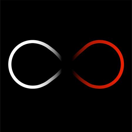 Symbole abstrait de l'infini, couleur blanche et rouge Vecteurs