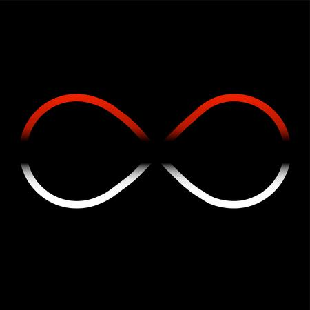 Symbole abstrait de l'infini, couleur blanche et rouge