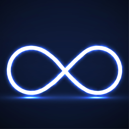 Abstract neon infinity symbol, glowing sign. Vector
