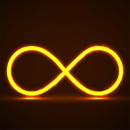 Symbole abstrait de l'infini néon, signe lumineux. Vecteur