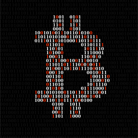 Abstract sign bitcoin of binary code, technology