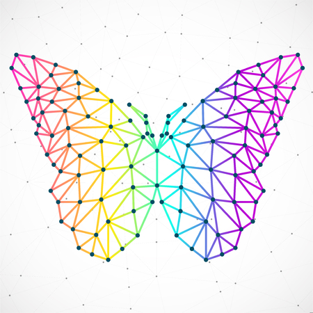 Abstract butterfly of lines and dots, polygonal geometric structure