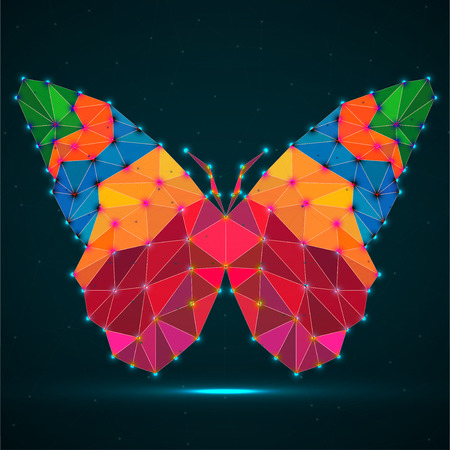 Abstract butterfly of colorful triangles, glowing polygonal geometric structure