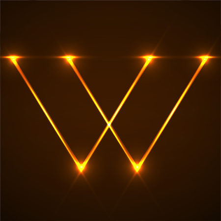 Abstract letter W with glowing lines. Vector design element