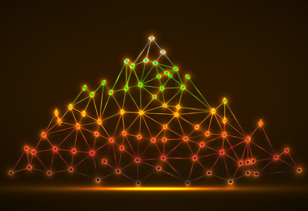 Abstract colorful mountain of glowing lines and dots. Polygonal mountain