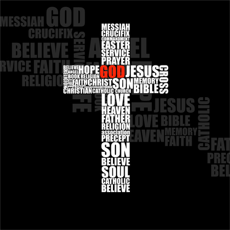 Cross of religious words. Christian Symbol. Vector