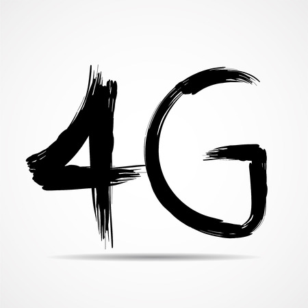 Vector illustration of 4G painted by art brush