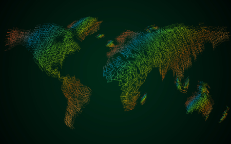 Abstract colorful polygonal world map with dots and lines, network connections 일러스트