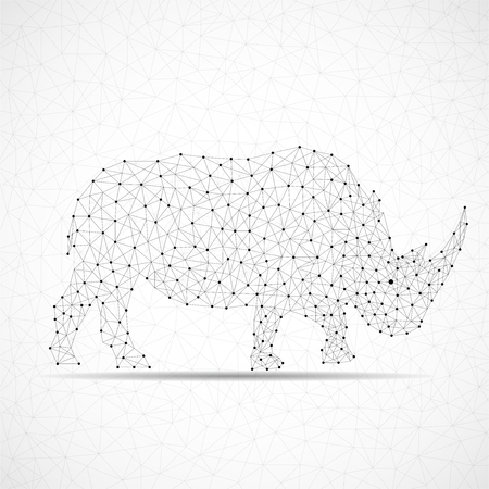 Abstract polygonal wireframe rhinoceros of points and lines Illustration
