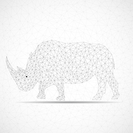 Abstract polygonal wireframe rhinoceros of lines. Vector