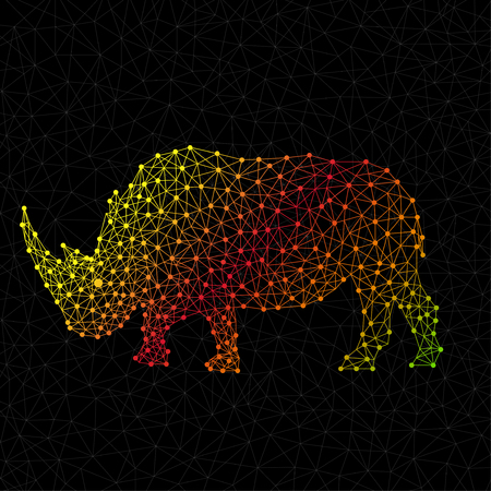 Abstract polygonal wireframe rhinoceros of points and lines