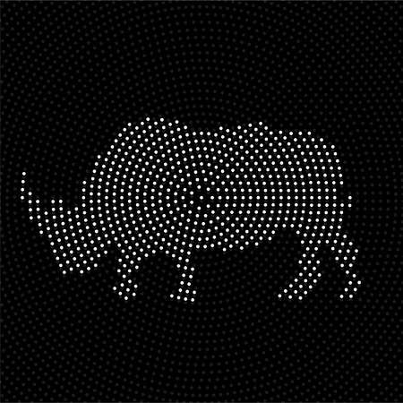 Abstract rhinoceros of dots. Rhino of the circles Ilustrace