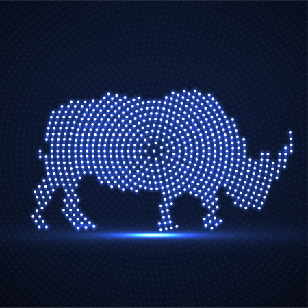 Abstract rhinoceros of glowing dots. Rhino of the neon circles