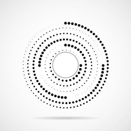 Abstract dotted circles, logo inside with shadow. Dots in circular form. Halftone effect