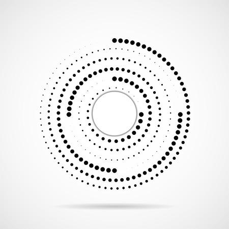 Cercles en pointillés abstraits, logo à l'intérieur avec ombre. Points sous forme circulaire. Effet demi-teinte
