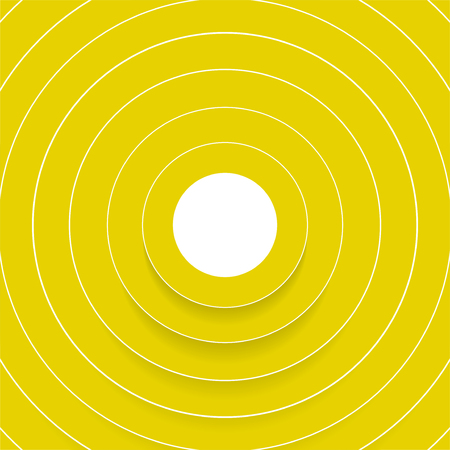 Abstract yellow circles with shadow. Vector background