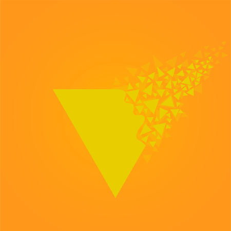 Abstract triangle with explosion on small splinters, geometric shape