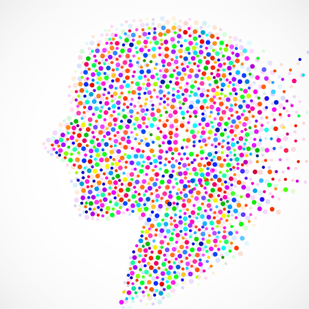 Abstract silhouette human head with colorful circles, dotted logo