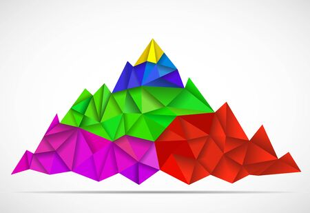 Abstract mountain in polygonal style. Mountain with triangles, vector illustration Иллюстрация