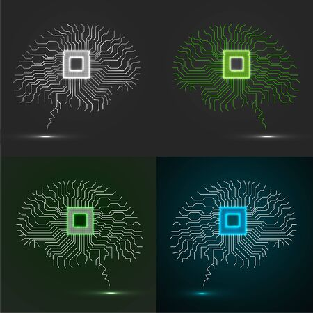 Set of neon brain. Cpu. Circuit board. Abstract technology background. Vector illustration.