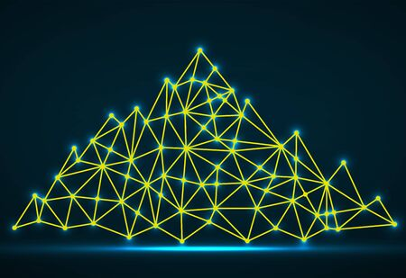 Abstract mountain of glowing lines and dots. Polygonal mountain Stock Illustratie