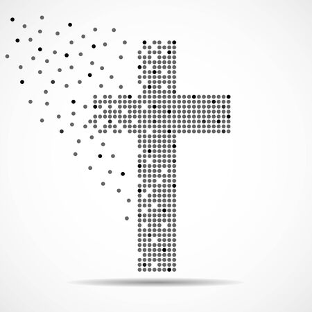 Abstract cross of dots. Christian Symbol. Vector