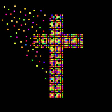 Abstract colorful cross of pixeles. Christian Symbol. Vector