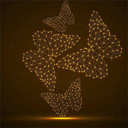 Abstrait avec des papillons au néon de lignes et de points, structure géométrique polygonale rougeoyante. Conception de vecteur
