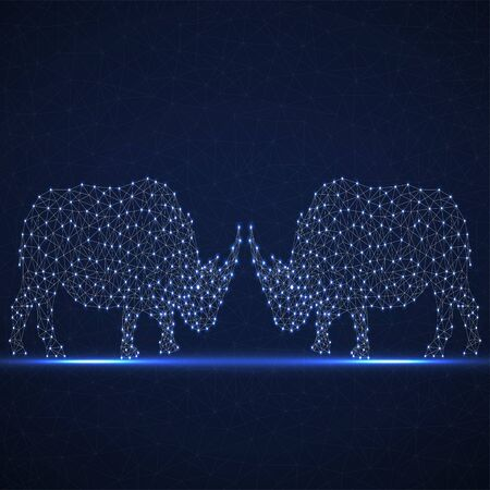 Two abstract polygonal wireframe rhinoceros of glowing points and line