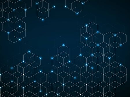 Abstract geometric background with glowing cubes. Geometrical concept