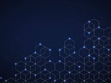 Abstract geometric background with glowing cubes. Geometrical concept with neon lines and points  イラスト・ベクター素材
